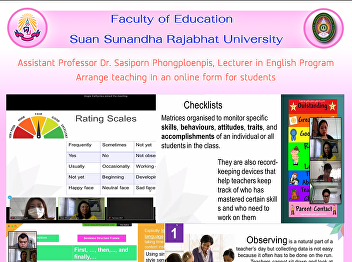 Assistant Professor Dr. Sasiporn Phongploenpis, Lecturer in English Program Arrange teaching In an online form for students
