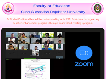 Asst. Prof. Dr. Thubthimthong Korbuaikaew organized online teaching With Google Hangouts Meet for math students