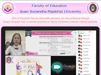 Dean of Education Faculty along with personnel Join the conference through Google Hangouts Meet to provide guidance on how to implement a teacher training workshop.
