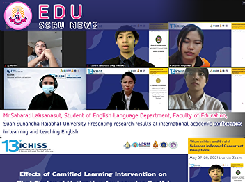 Mr.Saharat Laksanasut, Student of English Language Department, Faculty of Education, Suan Sunandha Rajabhat University Presenting research results at international academic conferences in learning and teaching English